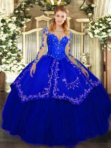 Royal Blue Scoop Lace Up Lace and Embroidery Vestidos de Quinceanera Long Sleeves