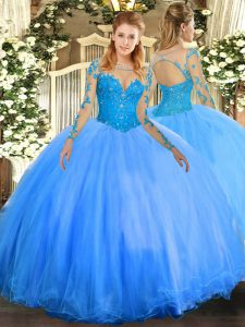 Enchanting Scoop Long Sleeves Quince Ball Gowns Floor Length Lace Baby Blue Tulle