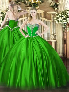 Custom Fit Floor Length Lace Up Sweet 16 Dresses for Military Ball and Sweet 16 and Quinceanera with Beading