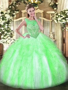 High End Sleeveless Beading and Ruffles Lace Up Sweet 16 Dresses