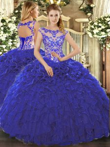 Decent Royal Blue Scoop Neckline Beading and Ruffles 15 Quinceanera Dress Cap Sleeves Lace Up