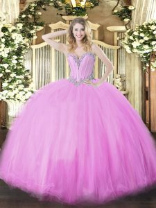Romantic Lilac Sleeveless Floor Length Beading Lace Up 15 Quinceanera Dress