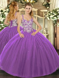 Tulle Straps Sleeveless Lace Up Beading and Appliques Ball Gown Prom Dress in Purple