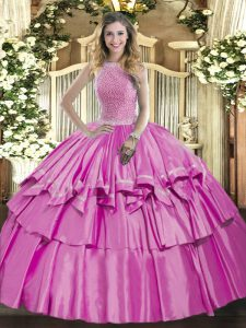High-neck Sleeveless Organza and Taffeta Quinceanera Dresses Beading and Ruffled Layers Lace Up