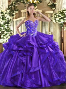 Graceful Sweetheart Sleeveless Organza Quinceanera Dress Embroidery and Ruffles Lace Up
