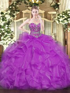 Glamorous Fuchsia Ball Gowns Organza Sweetheart Sleeveless Beading and Ruffles Floor Length Lace Up Quince Ball Gowns