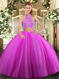 Sweet Tulle Halter Top Sleeveless Criss Cross Beading Sweet 16 Dresses in Fuchsia