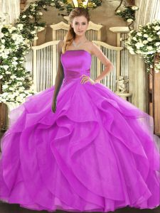 Fuchsia Sleeveless Ruffles Floor Length Quinceanera Gowns