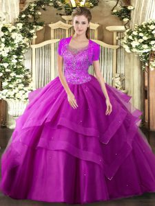 Custom Fit Sleeveless Tulle Floor Length Clasp Handle Sweet 16 Quinceanera Dress in Fuchsia with Beading and Ruffles