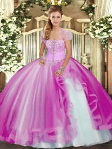 Fuchsia Ball Gowns Appliques and Ruffles Quince Ball Gowns Lace Up Tulle Sleeveless Floor Length