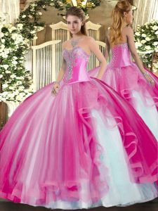 Most Popular Tulle Sleeveless Floor Length Sweet 16 Quinceanera Dress and Beading and Ruffles