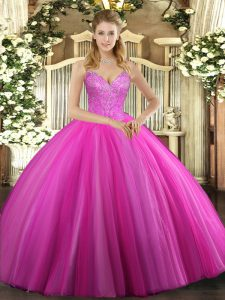 On Sale Fuchsia Lace Up V-neck Beading Quinceanera Dress Tulle Sleeveless