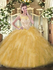 Beautiful Beading and Ruffles 15th Birthday Dress Gold Zipper Sleeveless Floor Length