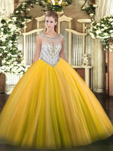 Elegant Gold Ball Gowns Tulle Scoop Sleeveless Beading Floor Length Zipper Sweet 16 Dress