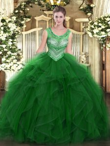Flare Green Sleeveless Beading and Ruffles Floor Length Quince Ball Gowns