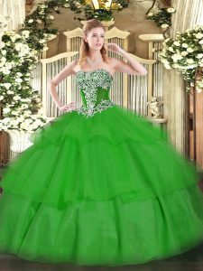 Custom Made Floor Length Lace Up 15th Birthday Dress Green for Military Ball and Sweet 16 and Quinceanera with Beading and Ruffled Layers