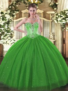 Stylish Green Tulle and Sequined Lace Up Quince Ball Gowns Sleeveless Floor Length Beading