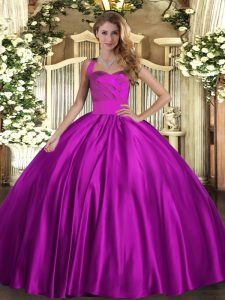 Adorable Sleeveless Floor Length Ruching Lace Up Vestidos de Quinceanera with Fuchsia