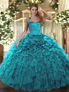 Pretty Sleeveless Ruffles Lace Up Sweet 16 Dresses