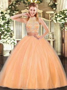Delicate Tulle Halter Top Sleeveless Criss Cross Beading Sweet 16 Dresses in Orange Red