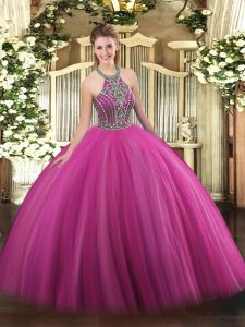 Hot Pink Halter Top Lace Up Beading Quinceanera Dress Sleeveless