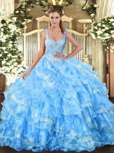 Sweet Floor Length Ball Gowns Sleeveless Baby Blue Sweet 16 Quinceanera Dress Lace Up