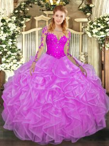 Modern Floor Length Lilac Sweet 16 Quinceanera Dress Scoop Long Sleeves Lace Up