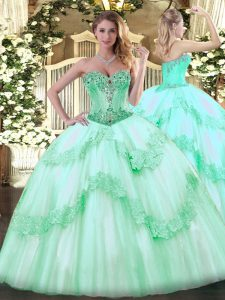 Free and Easy Apple Green Tulle Lace Up 15 Quinceanera Dress Sleeveless Floor Length Beading and Appliques