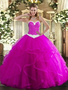 Fuchsia Tulle Lace Up 15 Quinceanera Dress Sleeveless Floor Length Appliques and Ruffles