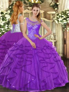 Elegant Purple Sleeveless Beading and Ruffles Floor Length 15 Quinceanera Dress