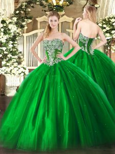 Smart Green Tulle Lace Up 15th Birthday Dress Sleeveless Floor Length Beading