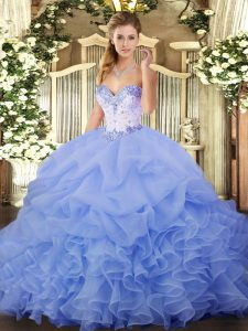 Organza Sweetheart Sleeveless Lace Up Beading and Ruffles and Pick Ups Quinceanera Dress in Lavender