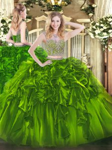 Vintage Sleeveless Lace Up Floor Length Beading and Ruffles 15 Quinceanera Dress