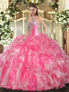 Delicate Rose Pink Sleeveless Organza Lace Up Sweet 16 Dresses for Military Ball and Sweet 16 and Quinceanera
