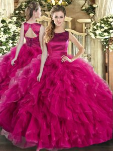 Delicate Fuchsia Tulle Lace Up Scoop Sleeveless Floor Length Quince Ball Gowns Ruffles
