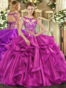 Wonderful Organza Sleeveless Floor Length Quinceanera Gown and Beading and Appliques and Ruffles
