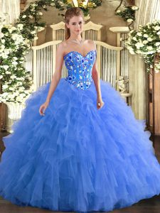 High Class Tulle Sleeveless Floor Length Quinceanera Gown and Embroidery and Ruffles