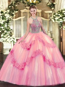 Amazing Ball Gowns Quince Ball Gowns Baby Pink Halter Top Tulle Sleeveless Floor Length Lace Up