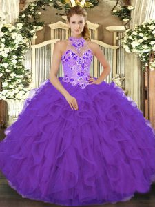 Purple Organza Lace Up Quinceanera Dress Sleeveless Floor Length Beading and Embroidery and Ruffles
