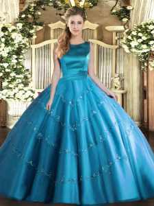 Aqua Blue Sleeveless Tulle Lace Up Quinceanera Dress for Military Ball and Sweet 16 and Quinceanera