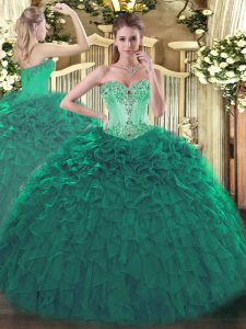 Turquoise Lace Up Sweetheart Beading and Ruffles Sweet 16 Dress Organza Sleeveless
