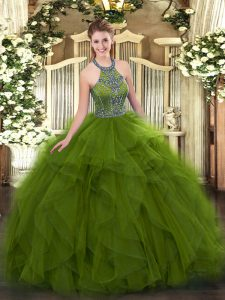 Floor Length Olive Green Sweet 16 Quinceanera Dress Halter Top Sleeveless Lace Up