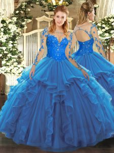 Stunning Long Sleeves Lace and Ruffles Lace Up Vestidos de Quinceanera