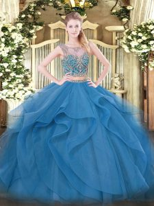 Blue Tulle Lace Up Quinceanera Dresses Sleeveless Floor Length Beading and Ruffles