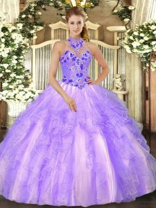 Beautiful Lavender Quinceanera Gown Military Ball and Sweet 16 and Quinceanera with Beading and Ruffles Halter Top Sleeveless Lace Up