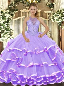 Smart Lavender Ball Gowns Halter Top Sleeveless Organza Floor Length Lace Up Beading and Ruffled Layers Quinceanera Dresses
