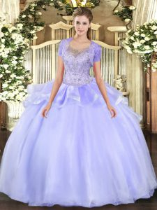 Organza and Tulle Sleeveless Floor Length Quinceanera Gowns and Beading and Ruffles