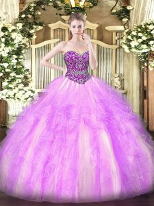 Suitable Lilac Tulle Lace Up 15 Quinceanera Dress Sleeveless Floor Length Beading and Ruffles