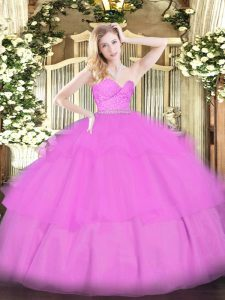 Smart Lilac Zipper Sweetheart Beading and Lace and Ruffled Layers Quince Ball Gowns Tulle Sleeveless