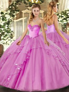 Ball Gowns Vestidos de Quinceanera Lilac Sweetheart Tulle Sleeveless Floor Length Lace Up